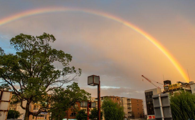 武庫之荘の夕焼け空に架かった虹